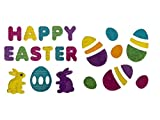 Happy Easter Letters with Bunnies and Easter Eggs Sparkle Gel Charms Window Clings Bundle Set of 2