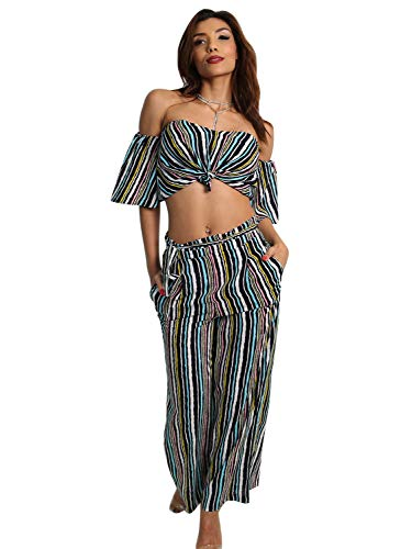 Glamaker Womens Sexy Off Shoulder Striped 2 Pieces Jumpsuit Crop Tops and Pants Set Striped8/10