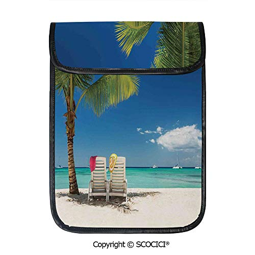 SCOCICI Simple Protective Relaxing Scene On Remote Beach with Palm Tree Chairs and Boats Panoramic Picture Pouch Bag Sleeve Case Cover for 12.9 inches Tablets