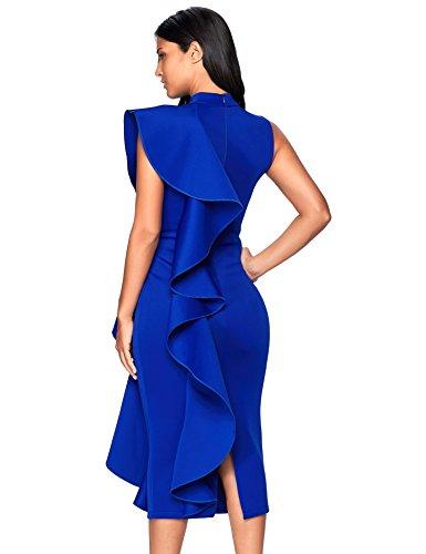 4e9728e6c77870 Meilun Womens Sleeveless Patchwork Ruffles Bodycon Vestidos Party Dresses  Clubwear