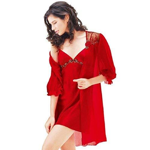 Camisón Sedoso Fashionista Suave Seda Dos Mujer Pijama Albornoz Y Transpirable Rojo Casual Verano Piezas Negro xqzT8SwfSn