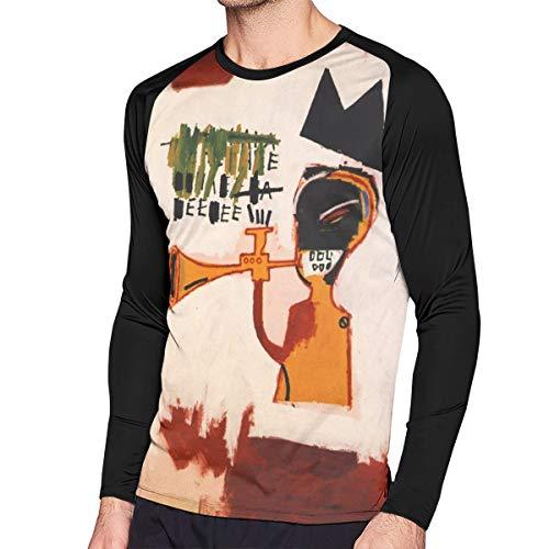 RobinEllis Jean-Michel Basquiat Cotton Mens T Shirt Long Sleeve Contrast Color Man T Shirt Black L