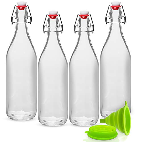 WILLDAN Giara Glass Bottle with Stopper Caps, Set of 4-33.75 Oz Swing Top Glass Bottles for Beverages, Oils, Kombucha, Kefir, Vinegar, Leak Proof Caps & Airtight Lids ()