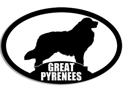 Oval GREAT PYRENEES Silhouette Sticker (dog breed decal) -