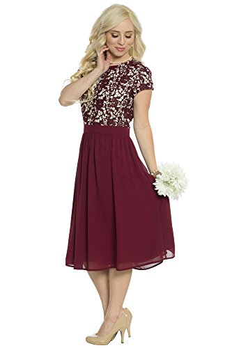 Olivia Lace & Chiffon Modest Dress In Burgundy Wine - S, Modest Semi-Formal Dress, Prom or Bridesmaid Dress In Dark Red Modest Lace