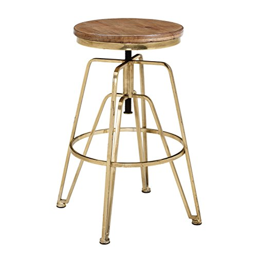 (Linon Wooden and Metal Adjustable Bar Stool in Brown and Gold )