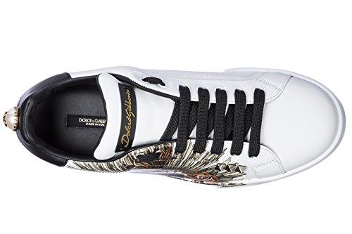 Dolce & Gabbana Herenschoenen Heren Leren Schoenen Sneakers Portofino Wit