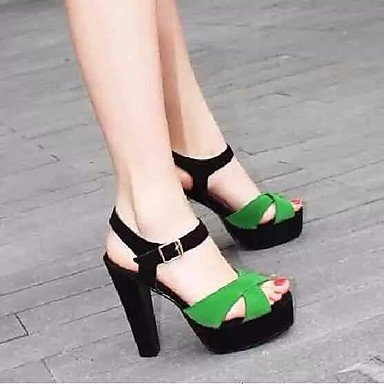 casual Blanco Tacones US6 zapatos CN36 oscuro pwne verde UE36 Primavera Club mujer Negro oscuro verde PU UK4 Xd8Og