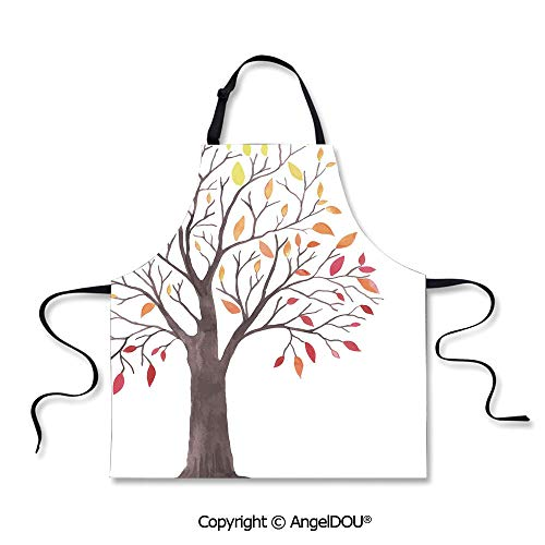 SCOXIXI Kitchen Bib Apron with Adjustable Neck Forest Tree with Modern Structure Leaves and Branches Cartoon Like Print for Grill BBQ Cooking Cosplay Party.