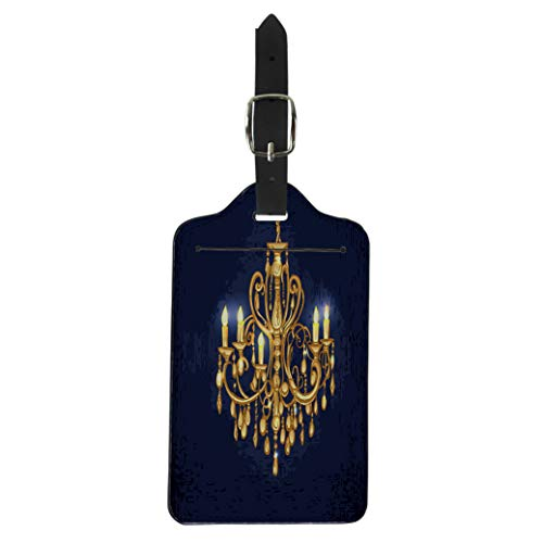 - Pinbeam Luggage Tag Gold Golden Chandelier in Dark Room Candles Baroque Suitcase Baggage Label
