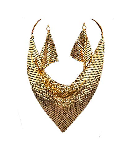 Metal Mesh Scarf Necklace (Gold Bohemian Medal Choker and ()