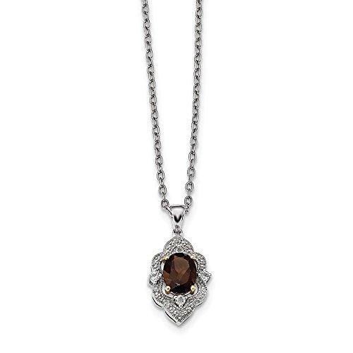 Sterling Silver&14K Smoky Quartz White Topaz and Diamond Necklace
