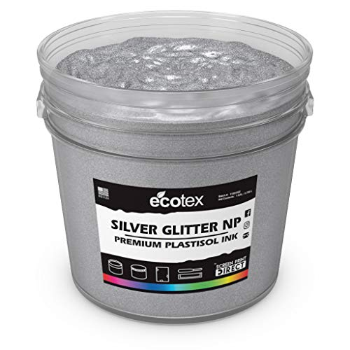 Ecotex Silver Glitter NP Plastisol Ink for Screen Printing - All Sizes (Gallon)