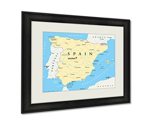 Ashley Framed Prints Spain Map Artwork Decoration Photo Print Wood Frame with Matte, kitchen living room bedroom 20x25 art by Ashley Framed Prints