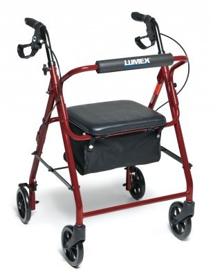 Lumex RJ4900R Walkabout Basic 4-Wheel Rollator, Red