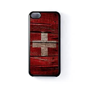 Vintage Flags - Wooden Swiss Flag - Flag of Switzerland Black Hard Plastic Case Snap-On Protective Back Cover for Apple® iPhone 5C by UltraFlags + FREE Crystal Clear Screen Protector
