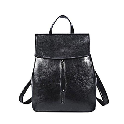 Mochila de cuero auténtico cuero de vaca Vintage Mujer Señoras Bolso mochila Negro