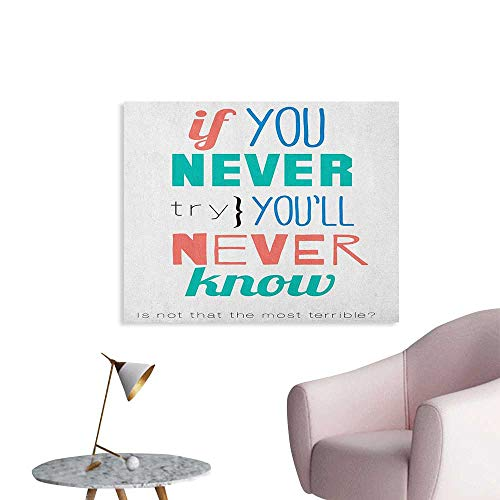 Black Post Jade Green Sign - Anzhutwelve Quotes Painting Post If You Never Try Youll Never Know Philosophy Inspiration Modern Sign Art Poster Coral Blue Jade Green W48 xL32