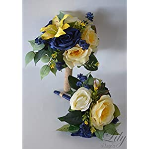 Wedding Bouquet, Bridal Bouquet, Bridesmaid Bouquet, Silk Flower Bouquet, Wedding Flower, Yellow, Sunflower, mini Sunflower, navy blue, blue, dark blue, navy, burlap, rustic, greenery, Lily of Angeles 7