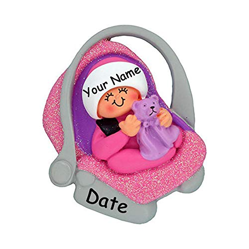 Personalized 2019 Baby's First Christmas Ornament Gift - Baby Girl in Pink Glittered Carrier with Teddy Bear Blanket Hanging Christmas Ornament with Custom Name and Date (Ornaments Car Bear Teddy)