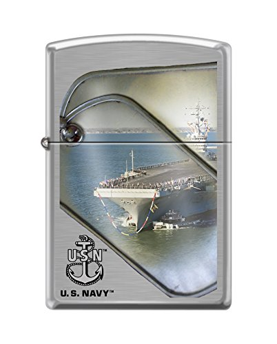 Zippo US Navy Boat and Tags Brushed Chrome Pocket Lighter