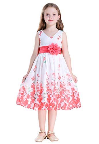 (Bow Dream Flower Girl Dress Junior Bridesmaids V-Neckline Chiffon Coral Rose 16)