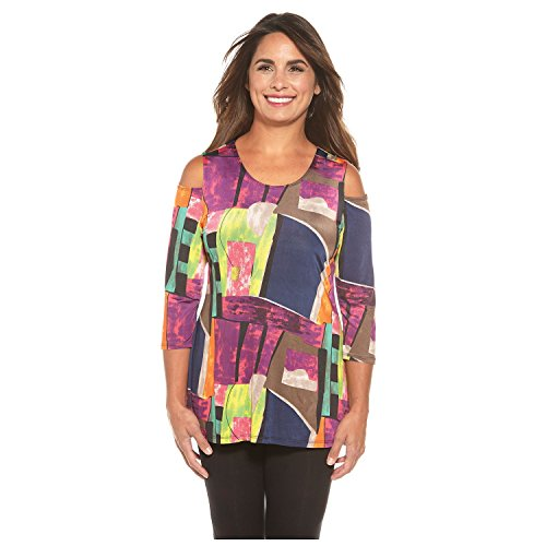 Caribe Women's Tunic Top - Cool Shoulder Optic Watercolor Tunic - 3/4 Sleeves - 3X