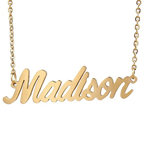 HUAN XUN Gold Plated Personalized Name Necklaces, Madison