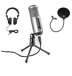 Audio Technica ATR2500-USB Mic with Knox Pop Filter and Headphones