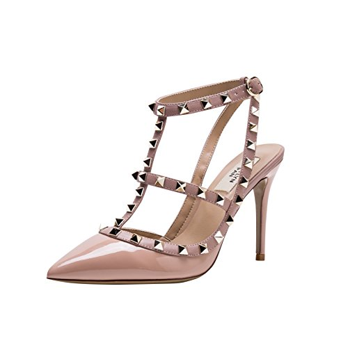 (Kaitlyn Pan Pointed Toe Studded Strappy Slingback High Heel Leather Pumps Sandals)