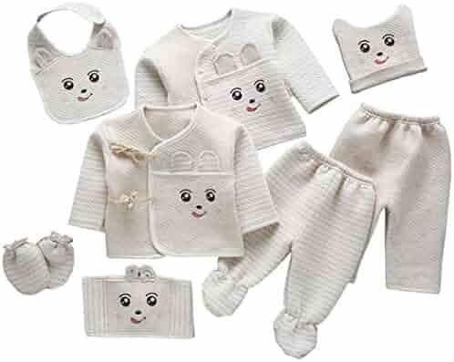 a427ab42e AIKSSOO 8Pcs Newborn Baby Organic Cotton Layette Set 0-3 Months Infant Gift  Set