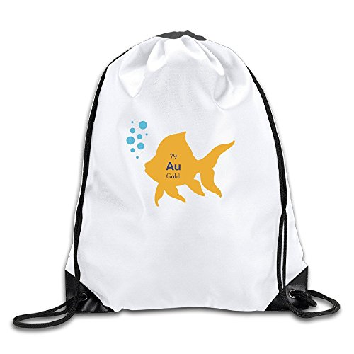 Golden Chemistry Element Fish Sports Drawstring Backpack For Men & Women