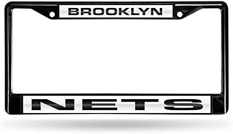 NBA Rico Industries  Laser Cut Inlaid Standard Chrome License Plate Frame Brooklyn Nets
