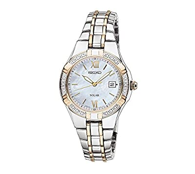 Seiko Women's Two Tone White Dial Diamond Bezel Dress Watch from Seiko