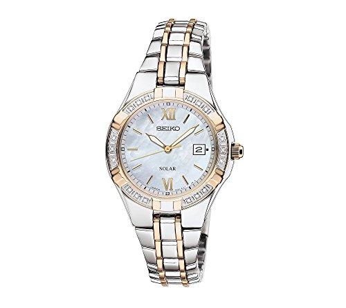 Seiko Women's Two Tone White Dial Diamond Bezel Dress Watch