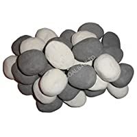15 Grey & White Gas Fire Pebbles Replacements/Bio Fuels/Ceramic/Boxed 7 White & 8 Grey In Coals 4 You packing