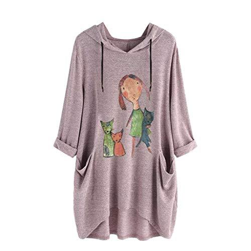 ALLYOUNG Women's T-Shirt Blouse Print Cat Ear Hooded Long Sleeves Casual Pocket Irregular Tops Shirts Summer New 2019 (Pink A, M)