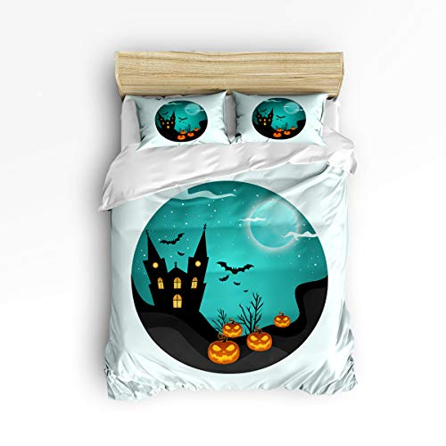 YEHO Art Gallery Soft 3 Piece Duvet Cover Set (1 Comforter Cover with 2 Pillow Cases) for Girls Boys,Green Happy Halloween Pattern with Pumpkins Castle Christmas Bedding Sets,King Size]()