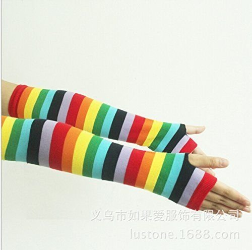 Womens Girls Cosplay Cute Rainbow Stripes Gloves Long Socks Blue Green Stockings Hosiery 1 Pairs Colorful