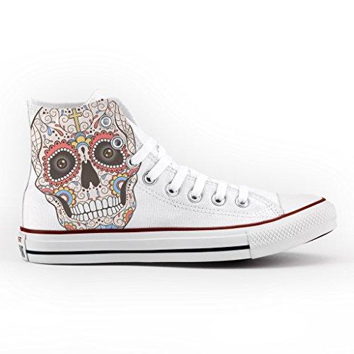 scarpe stampa Converse Star artigianali Alta mexican skull Personalizzate new All rYPRqPSWI