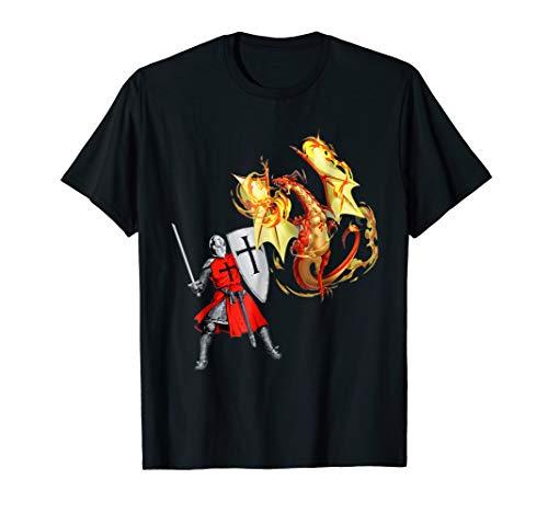 Dragon Breathing Fire T-shirt (Brave Knight Battles Fierce Fire Breathing Dragon Tee Shirt)