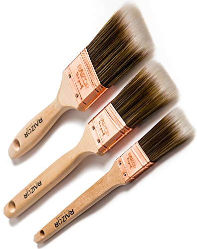(Raizor DIY Premium - Professional Grade Paint Brushes for Walls, Home & Furniture. 3 Piece Set (Sizes Include 2