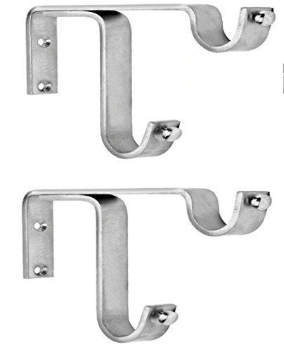 Ddrapes - 2 Strong Double SS Bracket for 2 Curtain Rod