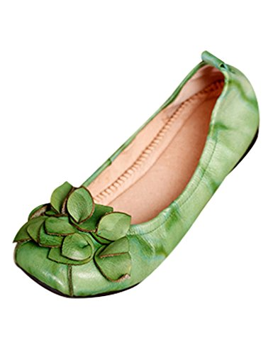 planos Hecho Soft Mujer Zapatos Bottom Flores Verde mano Youlee a aqp15F85w