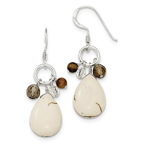 Mia Diamonds 925 Sterling Silver Crazy Lace Simulated Agate & Clear and Smoky Qtz & Tiger Eye Earrings (45mm x (Clip Tigers Eye Earrings)