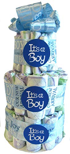 Diaper cake It's A Boy Satin Ribbon Blue Baby Shower Center Piece Gift Party ()
