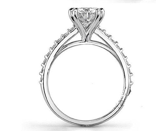 Gowe Or Massif 2ct Diamant Bague de fiançailles à double dents Cathédrale Ascd Lab Cultivées Diamant 9K Or blanc diamant Mariage Ensemble