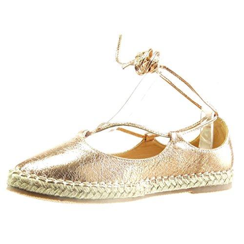 Angkorly - Chaussure Mode Sandale Espadrille femme brillant lacets corde Talon bloc 2 CM - Champagne