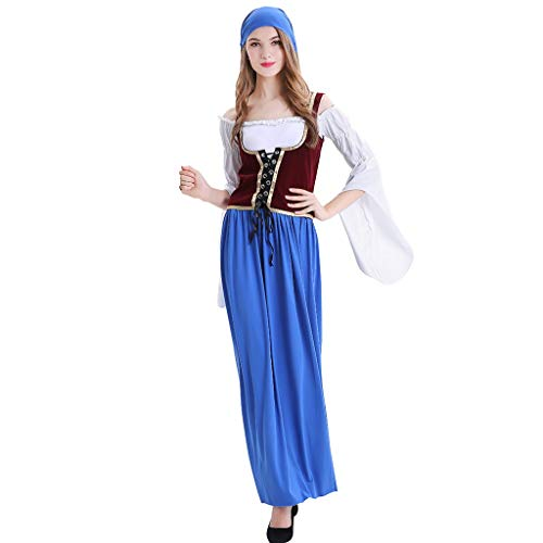 Women German Dirndl Dress Costumes Cosplay Performance Maxi Dresses for Bavarian Oktoberfest Halloween Carnival -