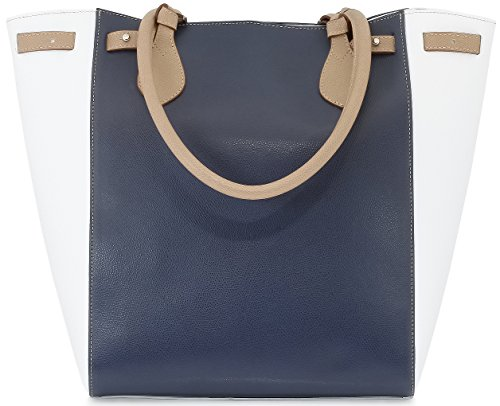 StilGut® collection Marina, sac à main Shopper en cuir italien véritable, en bleu/blanc/beige